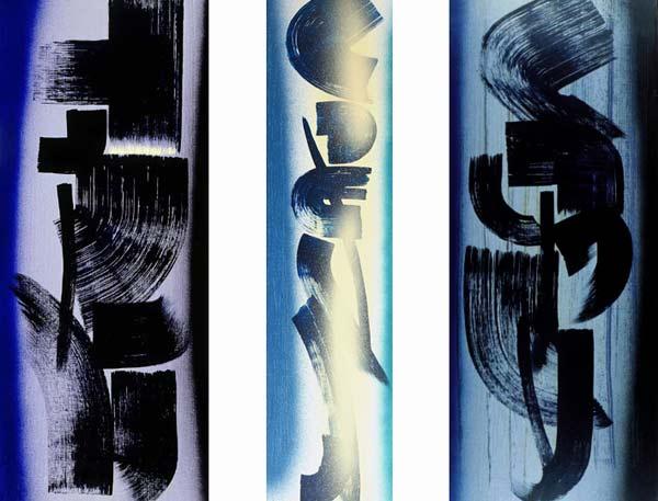 Hans Hartung, T1962-L21, T1962-L22, T1962-L23, 1962, vinilico su tela, 180 x 210 cm, Collezione Fondazione Hartung-Bergman