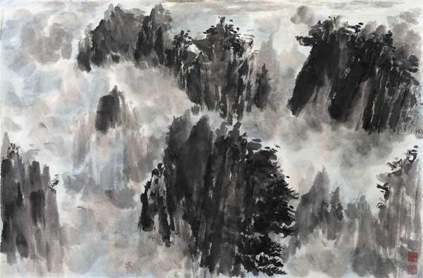 Mao Jianhua, Rinascita, inchiostro su carta fatta a mano, 69x45,5 cm