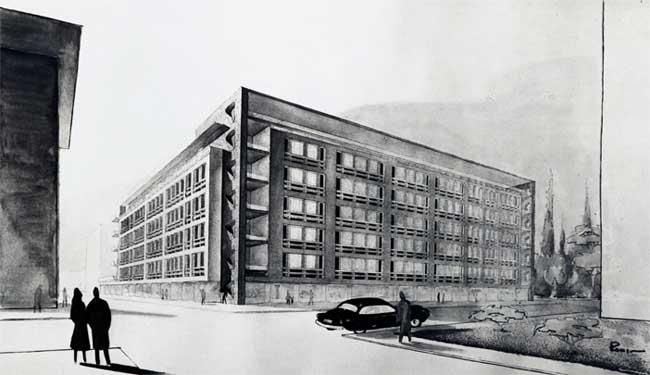 Armando Ronca, Edificio residenziale multipiano con albergo e negozi, Bolzano, 1952-1954. Foto Werner Feiersinger