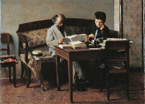 Giacomo Favretto, Un articolo interessante (Il padre e la sorella del pittore), 1874, Olio su tela, 25 x 28 c - Mostra La raccolta Ingegnoli
