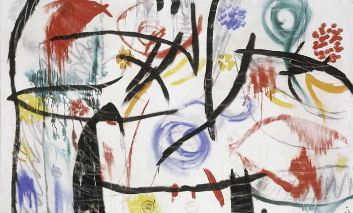 Joan Miró, Untitled, 1968-72, Oil, acrylic, charcoal and chalk on canvas, 130,6x195,5 cm, © Successió Miró by SIAE 2017, Archive Fundació Pilar i Joan Miró a Mallorca, Foto: Joan Ramón Bonet & David Bonet