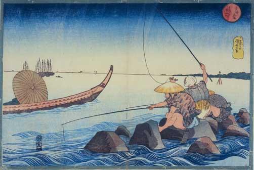 Utagawa Kuniyoshi, Teppozū, Serie: Luoghi famosi di Edo (Tōto meisho), circa 1832-1833, Silografia policroma (nishikie), 26,5x39,0 cm, Masao Takashima Collection
