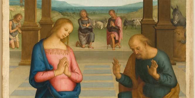 Pietro Vannucci detto il Perugino, Adorazione dei pastori tavola, cm 263x147, Perugia, Galleria Nazionale dell'Umbria