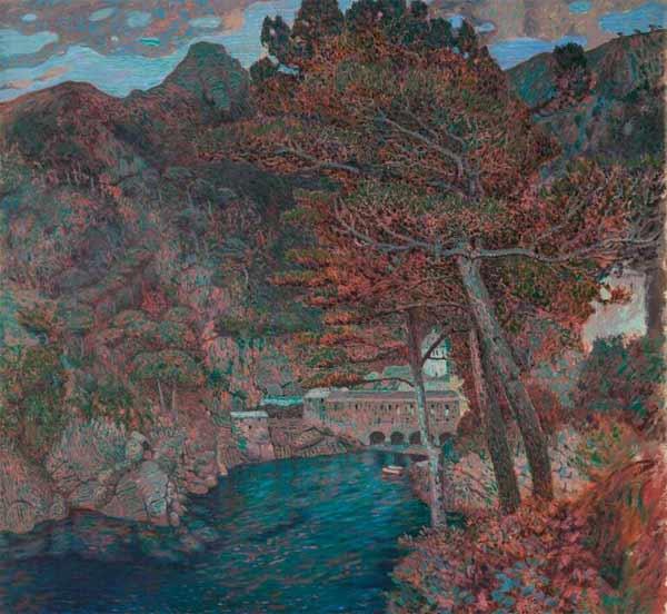 Rubaldo Merello, Aurora a San Fruttuoso, olio su tela