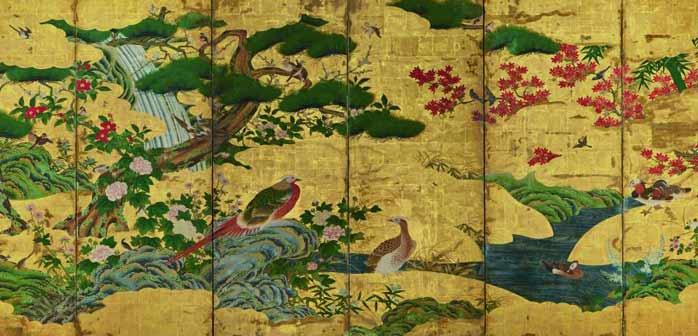 Scuola Kanō, Uccelli e fiori delle quattro stagioni, Inizio del XVII secolo, Coppia di paraventi a sei ante, Inchiostro, colore e foglia d'oro su carta, cm 152,9 x 349, Ōsaka shiritsu bijutsukan (Museo Municipale d'Arte di Osaka) - Mostra Il Rinascimento giapponese