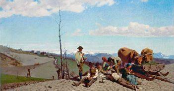 Stefano Bruzzi, Prime giornate di bel tempo, olio su tela 60,5 x 102 cm - Mostra i Macchiaioli