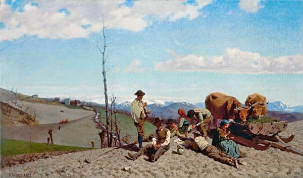 Stefano Bruzzi, Prime giornate di bel tempo, olio su tela 60,5 x 102 cm - Mostra I Macchiaioli. Capolavori da collezioni lombarde