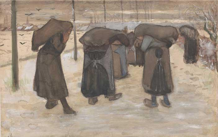 Vincent van Gogh, Donne nella neve che portano sacchi di carbone, 1882 carboncino (?), acquerello opaco, pennello e inchiostro su carta velina, mm 321 x 501 Otterlo, Kröller-Müller Museum, The Netherlands