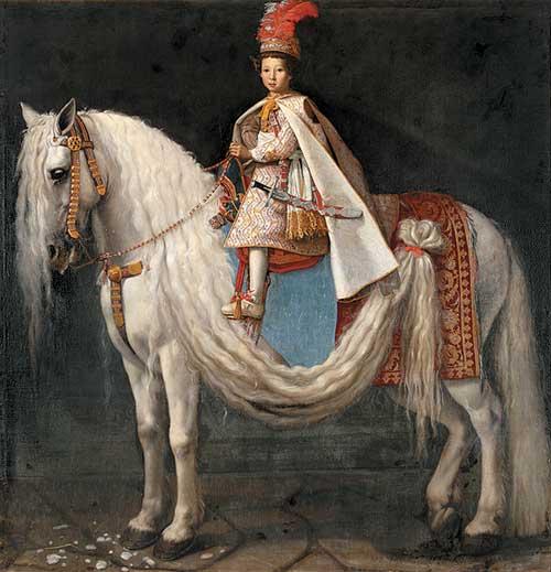 Giusto Suttermans, (Anversa 1597 – Firenze 1681), Leopoldo de' Medici bambino a cavallo, 1624-1625 circa, olio su tela, Benešov (Boemia centrale), Castello di Konopiště