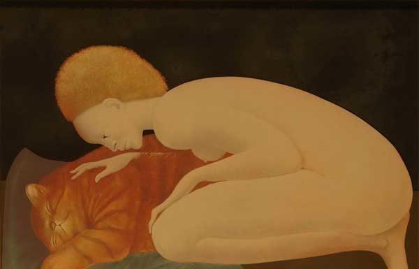 Leonor Fini, Figura con gatto, anni '70 - litografia - cm 74x52 (coll. Giorgio Cociani, Trieste)