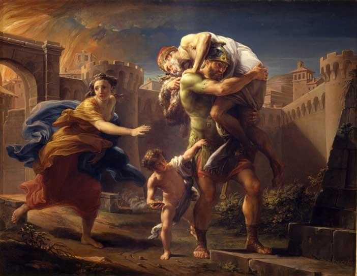 Pompeo Batoni, Enea che fugge da Troia in fiamme - Odissee. Mostra a Torino, Palazzo Madama