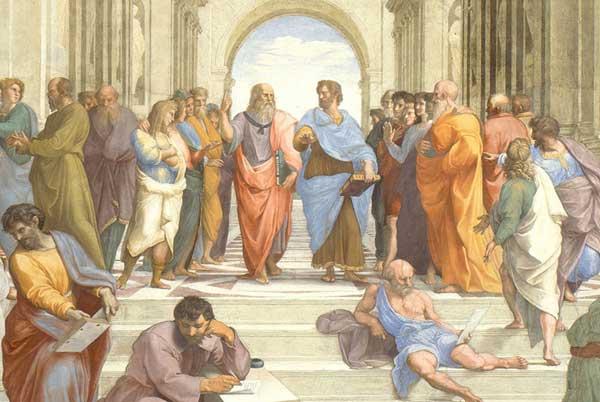I due filosofi greci Platone ed Aristotele nell'affresco di Raffaello Scuola di Atene, Città del Vaticano