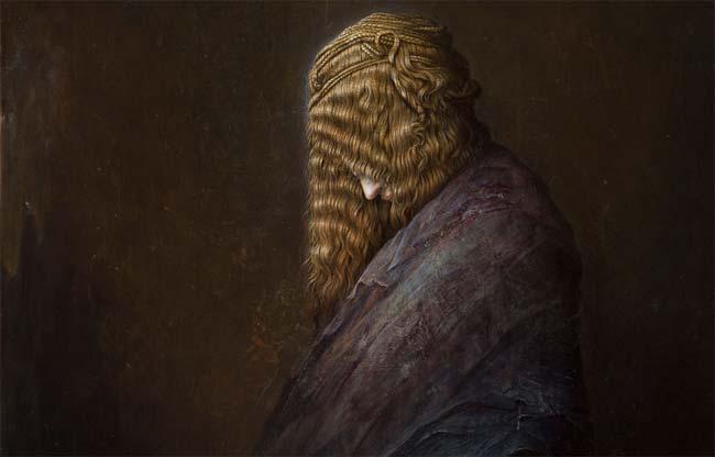 Agostino Arrivabene, L'annuncio, 2016,olio su legno,cm 65x60