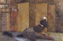 Giuseppe De Nittis, Il paravento giapponese, 1878, Acquarello su carta, cm. 22, 5 x 31,5, Bari, Pinacoteca Provinciale