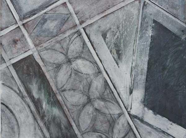 Guido Strazza, Cosmate, 1985, tempera su tela, 150,00x126,00