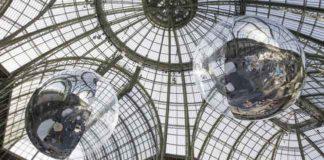 Tomás Saraceno, Aerocene 10.4 & 15.3, 2015, Installation view at Grand Palais, Paris. Courtesy the artist; Tanya Bonakdar Gallery,New York; Andersen's, Contemporary, Copenhagen; Pinksummer contemporary art, Genoa; Esther Schipper, Berlin. © Photo by Studio Tomás Saraceno, 2015