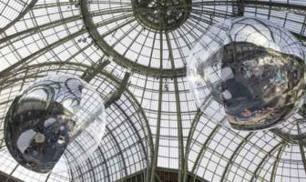 Tomás Saraceno, Aerocene 10.4 & 15.3, 2015, Installation view at Grand Palais, Paris. Courtesy the artist; Tanya Bonakdar Gallery,New York; Andersen's, Contemporary, Copenhagen; Pinksummer contemporary art, Genoa; Esther Schipper, Berlin. © Photo by Studio Tomás Saraceno, 2015