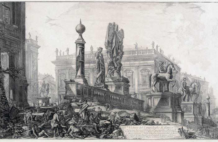 G.B. Piranesi, Veduta del Campidoglio, 1761-1778, Museo di Roma, inv. MR 2633 - Mostra Il Tesoro di Antichità. Winckelmann e il Museo Capitolino nella Roma del Settecento