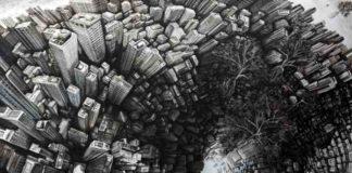 """Fabio Giampietro, HPS The Downward 2017, sottrazione di colore ad olio su tela, cm. 300x200 - Mostra """"Il Millennio è maggiorenne"""""""
