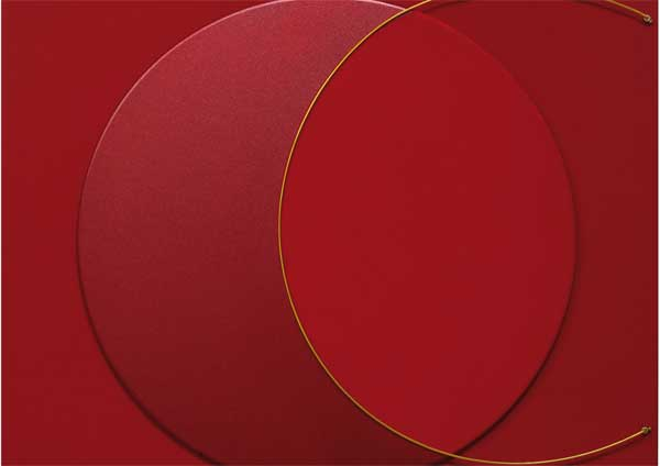 Bruno Bani, Eclissi R, 2017, acrilico e filo di rame su tela, 80 x 80 cm