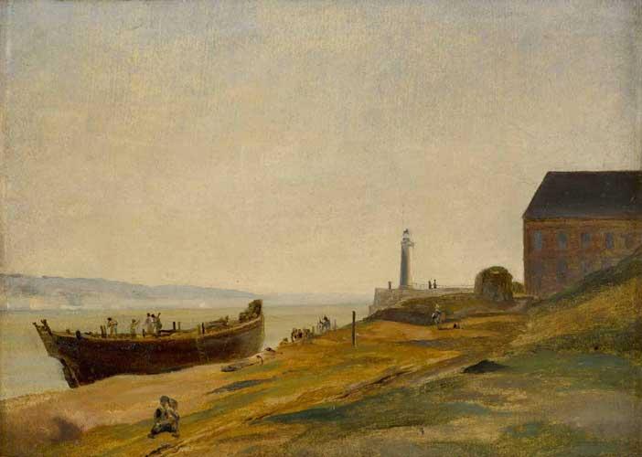 """Jean-Baptiste Camille Corot: Honfleur, bateau en construction, 1822-23 ca., olio su carta incollata su tela, 23 x 31 cm. Dimensioni con cornice: 31,5 x 40,2 cm - Mostra """"Luci del Nord. Impressionismo in Normandia"""""""