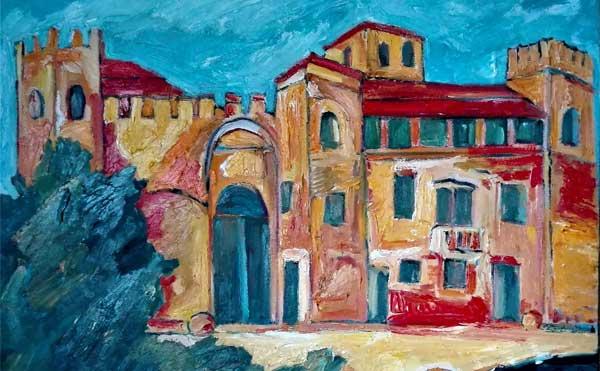 Eros Rizzo, Castello di Valbona 100x80 olio su tela 2017
