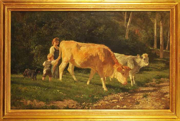 Filippo Palizzi, Vacca e vitello che pascolano, seguiti da due bambini e un cane, 1861