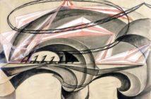Giacomo Balla, Ponte della velocità, 1915, olio magro su carta, 68 x 96 cm