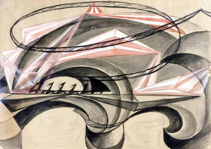 Giacomo Balla, Ponte della velocità, 1915, olio magro su carta, 68 x 96 cm - Mostra Picasso, De Chirico, Morandi
