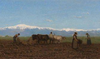 Giuseppe Ciardi, L'aratura (Il lavoro nei campi), 1872, olio su tela, 44 x 95 cm