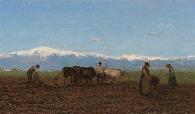 """Giuseppe Ciardi, L'aratura (Il lavoro nei campi), 1872, olio su tela, 44 x 95 cm - Mostra """"Ottocento contemporaneo. Due generazioni di artisti a confronto"""""""