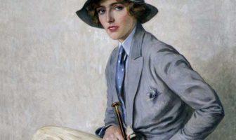 """Oscar Hermann Lamb, Amazzone, 1932, olio su tela, 10x81 cm - Mostra """"Monaco, Vienna, Trieste, Roma. Il Primo Novecento al Revoltella"""""""
