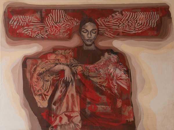 Tarik Berber, serie Windsor Beauties, 2017, olio su tela, cm 120x160