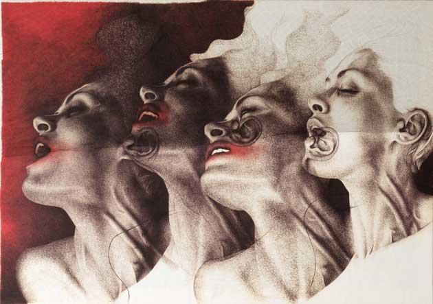 Adele Ceraudo, Senza titolo, 2018, stampa fine art su tela con smalto e tulle, cm 105x150