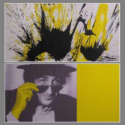 Agron Hoti, Giorgio Gaber, 2017, acrilico su carta su legno, 2 elementi, cm 60x120 cad