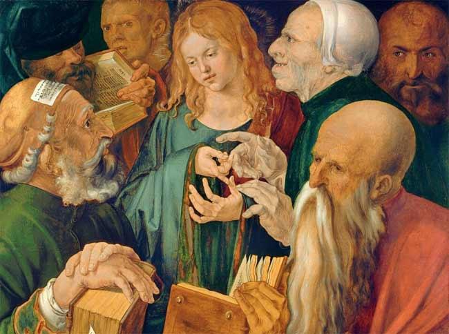 Albrecht  Dürer, Gesù  fra  i  dottori, 1506, olio  su  tavola, cm  64,3  x  80,3,  ©  2018  Museo  Thyssen-Bornemisza  /  Scala,  Firenze