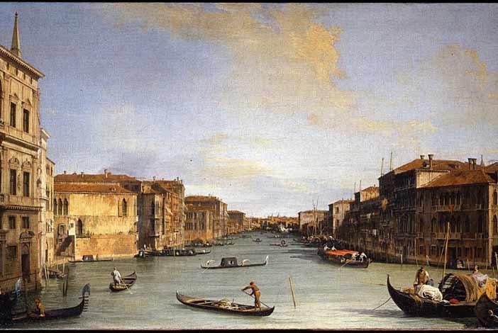 Giovanni Antonio Canal detto il Canaletto, Veduta del Canal Grande al Ponte di Rialto, 1726 – 1728, Olio su tela, Firenze, Gallerie degli Uffizi, Galleria delle Statue e delle Pitture