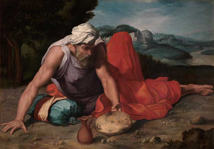 Daniele da Volterra: Il profeta Elia nel deserto 1550 ca., olio su tela. Collezione privata, courtesy Galleria Benappi - Mostra L'Eterno e il tempo tra Michelangelo e Caravaggio