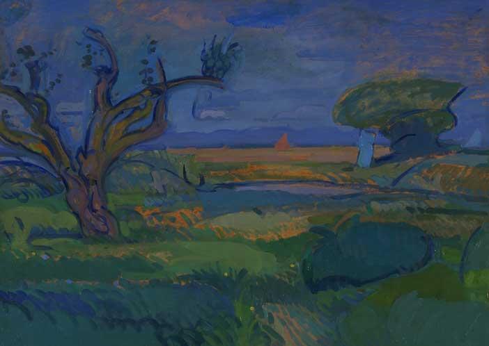 Gino Rossi, Barene a Burano,1912-13, olio su cartone, cm 59,5x70,4, Collezione Fondazione Cariverona ©Archivio Fotografico Fondazione Cariverona - Saccomani, Verona