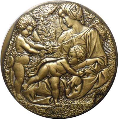 """Piero Monassi, """"The Genius of Michelangelo"""", Anno di emissione: 1976, Fonderia d'Arte: Beltrame, Udine, Bronzo fuso dorato, mm. 140, Medagliere Ambrosiano, Fondo Monassi, 58"""