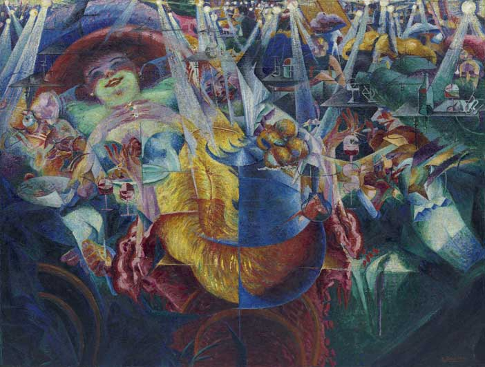 """Umberto Boccioni, La risata, 1911, Olio su tela, cm 110,2 x 145,4, New York, Museum of Modern Art. Dono di Herbert e Nannette Rothschild, 1959 - Mostra """"Stati d'animo. Arte e psiche tra Previati e Boccioni"""""""