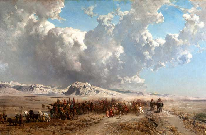 Alberto Pasini, La carovana dello Shah di Persia, 1867, olio su tela