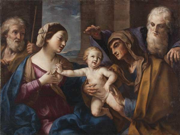 Elisabetta Sirani (Bologna, 1638-1665), Sacra Famiglia con Sant'Anna e San Gioacchino (Sacra Famiglia delle ciliegie), 1662 circa, Olio su tela, Milano, Collezione privata