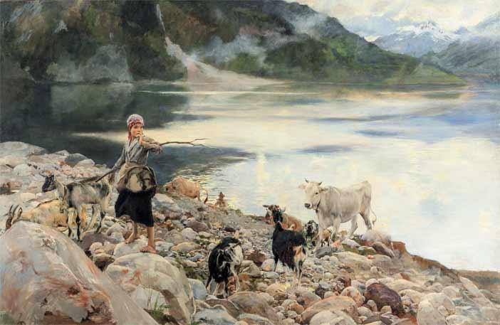 Ettore Tito, Il lago di Alleghe, olio su tela 140 x 200 cm