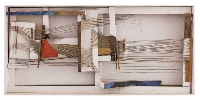 Maria Lai, Telaio in sole e mare, 1971, legno, acrilico e spago, New York, Olnick Spanu Collection