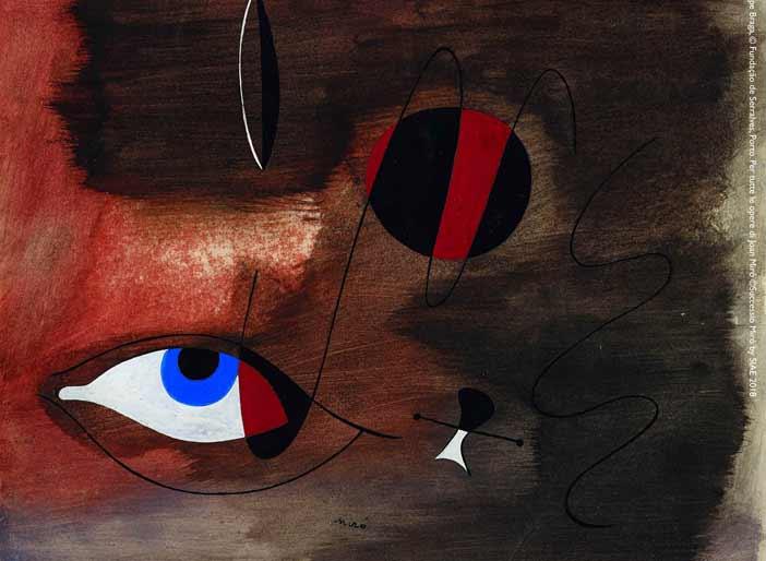 Joan Mirò, Apparitions, 30 ago 1935. Gouache e inchiostro di china su carta, 30.5x37 cm. Filipe Braga, © Fundação de Serralves, Porto. Per tutte le opere di Joan Miró ©Successió Miró by SIAE 2018