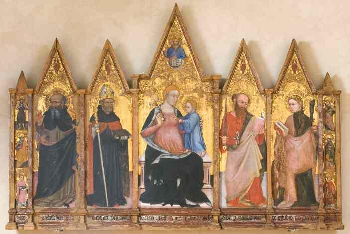 Ottaviano Nelli, Madonna con Bambino, Trinita', santi, Cherubini. 1403. Tempera su tavola - Mostra Tutta l' Umbria una mostra