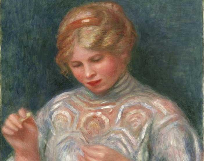 Pierre-Auguste Renoir, Ragazza che fa il merletto, ca. 1906, olio su tela, 56.5 x 46.7 cm, Philadelphia Museum of Art, Collezione Louis E. Stern, 1963 - Mostra Impressionismo e avanguardie