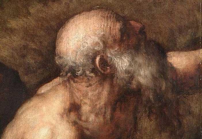 Tiziano Vecellio (Pieve di Cadore, Belluno, 1488/1490 - Venezia, 1576) San Gerolamo penitente, (particolare) 1556-1561. Olio su tavola 235 × 125 cm Milano, Pinacoteca di Brera