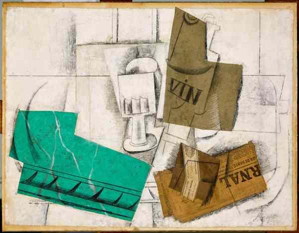 Pablo Picasso, Bicchiere, bottiglia di vino, pacchetto di tabacco, giornale, marzo 1914, 49 x 64 cm, Musée national Picasso, Paris © Succession Picasso / 2018, ProLitteris, Zurich Photo RMN-Grand Palais (Musée national Picasso-Paris) / Mathieu Rabeau